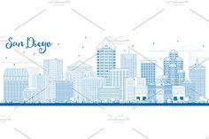 #Outline #San #Diego #Skyline by Igor Sorokin on @creativemarket