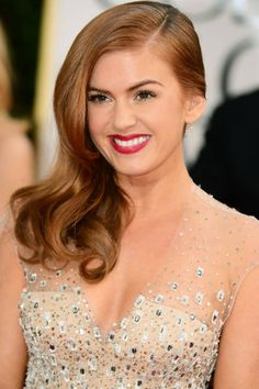 Lashes & lips for Isla Fisher, Golden Globes 2013