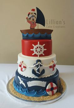 ▷ ideas for a Mickey Mouse cake for die-hard Disney fans Mickey Mouse Cake Decorations, Cake Pops Mickey Mouse, Mickey Mouse Birthday Cake, Mickey Cakes, Nautical Mickey, Nautical Cake, Nautical Party, Mickey Mouse Marinero, Nautical Birthday Cakes