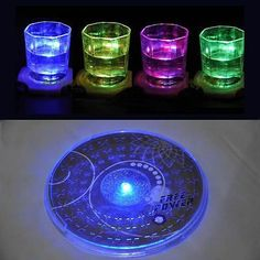 1X LED Coaster Color Change Light Up Drink Mat Cup Tableware Glow Bar Club Party