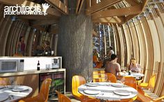 New Zealand's Whimsical Yellow Treehouse Restaurant (Interior CG shot)  - from inhabitat.com