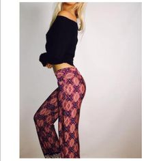 ✨Only 2 larges left✨Palazzo Pants ❤️ Cute & Comfy! Causal Palazzo Pants in Burgundy |  Light weight with a great stretch. Model is 5'9 wearing a Small | 100% Polyester 🌸Available in sizes Medium & Large. Bohemian Sea Pants