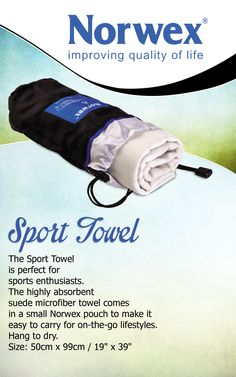 Norwex #Sport #Towel (www.norwex.com)  Use it at the beach, pool, for camping, on holidays, or in your gym bag. Very compact (wet or dry), super absorbent and dries quickly!  A small nylon pouch makes it easy to carry and easy to put away, wet or dry! It effectively removes water from all surfaces EVEN when damp. Used after swimming, as a sport towel and hair towel. If put away wet, hang to dry as soon as possible.