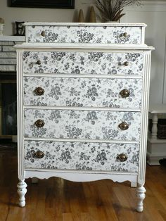 Decorate the Front of a Dresser Contact paper is an inexpensive and easy way to revamp furniture. It's also the perfect way to redecorate if you live in a rental where you aren't allowed to paint to your own liking. Bar Furniture, Furniture Projects, Furniture Making, Furniture Makeover, Painted Furniture, Diy Projects, Furniture Outlet, Furniture Stores, Furniture Hardware