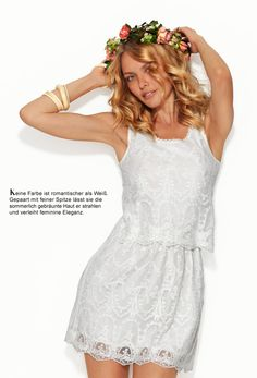 super cute lacey summer dress and flower crown - perfect for midsommar