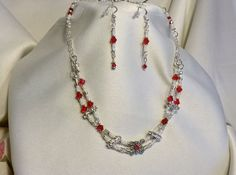 LADY ELEGANCE-Crystal Red/White Necklace & by BeadOriginalsbyJudi