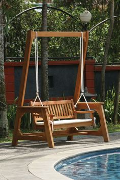Explore lots of Amazing Garden Swing Bench Wooden Garden Bench Swing concepts from Donna Taylor to update your living area. Porch Swing Frame, Garden Swing Seat, Bench Swing, Balcony Garden, Patio Bench, Garden Pool, Wooden Swing Bench, Rope Swing, Patio Swing