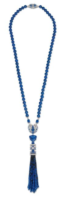 Chaumet Lumières d'Eau collection diamond necklace embellished with a pompom of graded lapis lazuli and black spinels. (=)