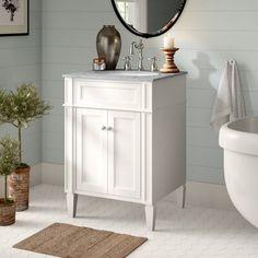 "Birch Lane™ Park Ave 24"" Single Bathroom Vanity Set   Birch Lane 24 Inch Bathroom Vanity, Bathroom Vanity Designs, Small Bathroom Vanities, 24 Inch Vanity, Single Vanities, Marble Bathrooms, Master Bathrooms, Glass Bathroom, Bathroom Mirrors"
