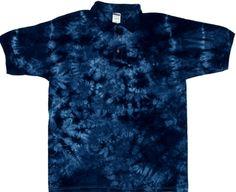 Tie Dyed Shop Cotton Steel Blue Spiral Tie Dye Collared Shirt Men Women Teens