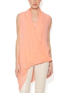 Silk Wrap Front Asymmetrical Top from Gold Hawk on Gilt