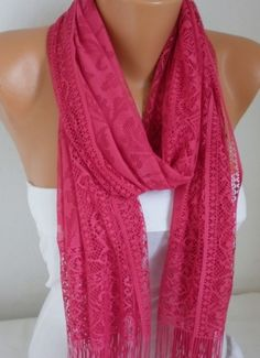 ON SALE - Hot Pink Tulle Scarf - Shawl Women Scarf - Cowl Scarf with Lace Edge - fatwoman