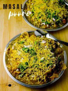 Masala Poori Recipe - Kannamma Cooks Side Recipes, Snack Recipes, Cooking Recipes, Yummy Recipes, Puri Recipes, Indian Food Recipes, Ethnic Recipes, Masala Puri, Garam Masala