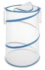 Amazon.com: Whitmor 6155-699 18 Inch Collapsible Hamper, White With Blue Trim: Home & Kitchen $13