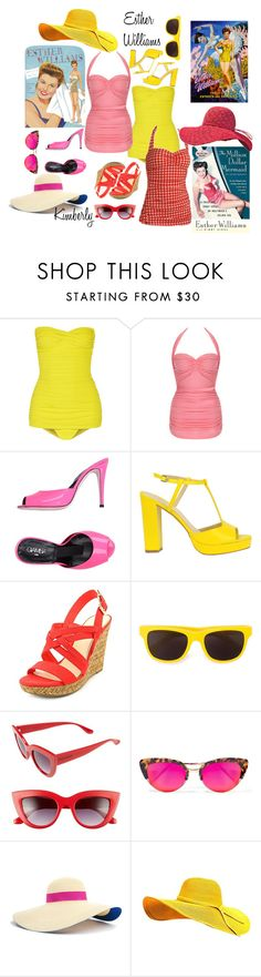 """Esther Williams"" by kimmie-plus2 ❤ liked on Polyvore featuring Norma Kamali, Esther Williams, Giamba, Jessica Simpson, Moschino, Perverse, Krewe and Eugenia Kim"