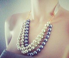 Bridesmaid Pearl Necklace Multistrand by PearlJewelryNecklace