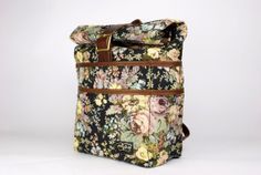 MotleyGoods Floral Weekender Pannier and Backpack with Laptop Sleeve