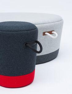 tim webber design duffel stool & ottoman detailed after luggage - designboom | architecture & design magazine
