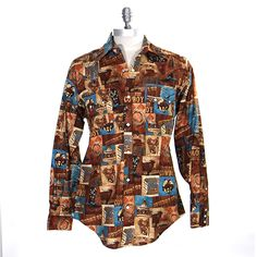 Rockmount Retro Cowboy Print Men's Shirt at Maverick Western Wear