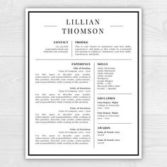 Professional Resume Template For Word Pages CV