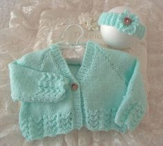 Hand Knitted Baby Girls Cardigan & Headband Set £12.00