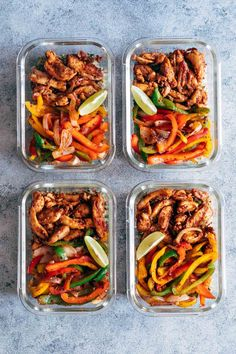 Chicken Fajita Meal Prep Lunch Bowls are teamed with cilantro lime quinoa and is a healthy tasty fast recipe to make lunch prep for weekdays super easy! The post Chicken Fajita Meal Prep Lunch Bowls appeared first on Recipes. Meal Prep For Beginners, Beginner Paleo, Meal Prep Bowls, Easy Lunch Meal Prep, Meal Prep Dinner Ideas, Healthy Meal Prep Lunches, Dinner Meal, Fast Healthy Meals, Clean Lunches