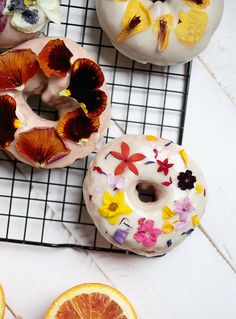 ... floral donuts with blood orange and lemon ginger glaze ...