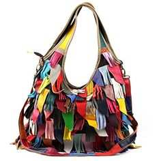 Yilen Womens Genuine Leather Multicoloured Hippie Fringe Tassel Hobo Top Handle Shoulder Bag MultiHobo ** Click image for more details.