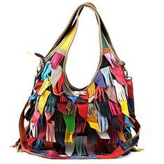 Yilen Womens Genuine Leather Multicoloured Hippie Fringe Tassel Hobo Top Handle Shoulder Bag MultiHobo ** Click image for more details.