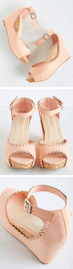 Blush scallop edge wedges | shoe design