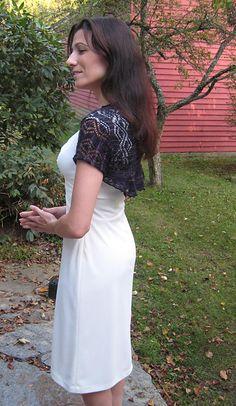 Navy shrug, ivory dress