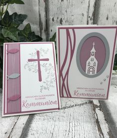 "Glückwünsche zur Kommunion Greeting cards for Communion in the color Delicate Plum with the sets ""Blessings"", ""Hope and Faith"" and the Edgelits forms ""Winter Town"". Stampin & # Up! Tarjetas Stampin Up, Stampin Up Karten, Karten Diy, Stampin Up Cards, Easter Cross, Easter Art, Tattoo Fairy, Communion Invitations, Ink In Water"