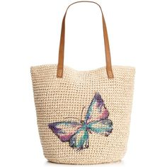 Style & Co. Butterfly Straw Beach Bag, ($63) ❤ liked on Polyvore featuring bags, handbags, tote bags, purses, totes, butterflies, beach tote, hand bags, man bag and white tote
