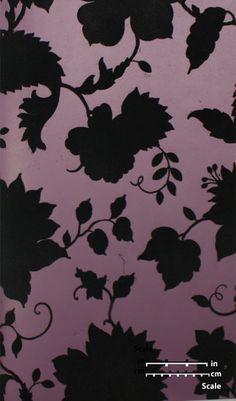 Plush Flocked Wallpaper Floral Toile Plum/Black Velvet