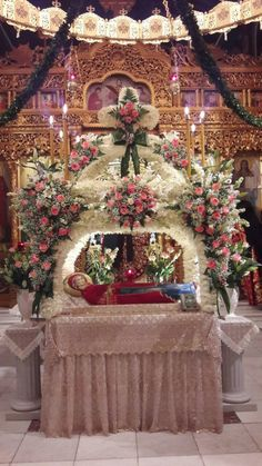 Church Flower Arrangements, Church Flowers, Church Icon, Orthodox Icons, White Flowers, Christianity, Religion, Christmas Tree, Table Decorations
