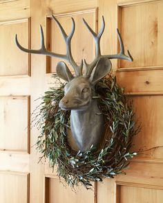 Park Hill Collections Estate Stone Deer Head Mount & Olive and Twig Wreath Coastal Christmas, Christmas Mantels, Christmas Door, Modern Christmas, Rustic Christmas, Christmas Wreaths, Christmas Ideas, Merry Christmas, Deer Mount Decor