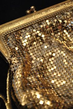 1950s Gold Metal Mesh Evening Purse in the Whiting & by DillyDandy