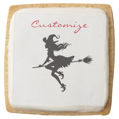 Witch Riding Broom Halloween Thunder_Cove Square Shortbread Cookie - halloween decor diy cyo personalize unique party