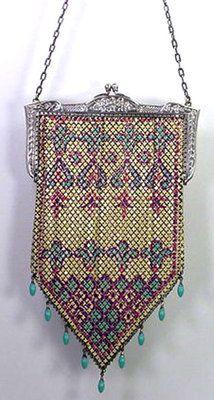 1920s Mandalian Art Deco Enamel 9-Bead drops Mesh Handbag.