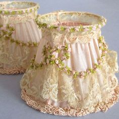 Pr Antique Pink SILK & LACE Chandelier SHADES Rosette Swags Orig Boxes * FRANCE