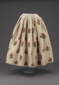 18th century, Europe - Skirt - Quilted cotton with wool tambour embroider, printed cotton lining, and cotton and linen tapes