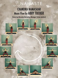 """You're probably very familiar with """"Surya Namaskar"""", or """"Sun Salute"""", but do you know the moon flow? If not, you'll definitely want to check out the """"Chandra Namaskar"""" or """"Moon Flow"""" sequence below, a beautiful way to bring a sense of grounding and rest t Yoga Meditation, Yoga Yin, Yoga Bewegungen, Namaste Yoga, Yoga Moves, Yoga Exercises, Yin Yang Yoga, Grounding Exercises, Cardio Yoga"""