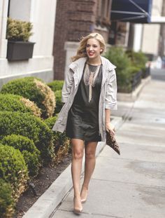 One of these items is less than $30... such a steal!  Click to find out (it's not what you think).  leather // anorak // statement necklace // clutch // leopard print // blogger // personal style // shift dress // leather dress // chicago // sale