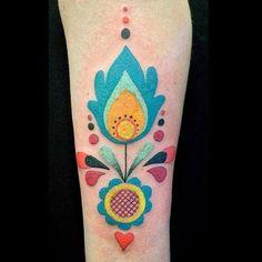 #Kurbits inspired tattoo by Amanda Chanfreau @amandachanfreau Malmö Sweden • amanda@malortmalmo.se