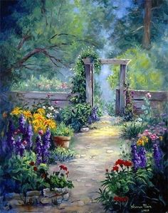 Fine art print, Oil painting print, Flower art by Sharon Maia Wilson, Flower garden, Pathway Garden Painting, Garden Art, Landscape Art, Landscape Paintings, Landscapes, Painting Prints, Fine Art Prints, Cottage Art, Pictures To Paint