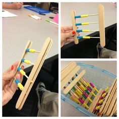 Class set of Rekenreks. Use Popsicle sticks, pony beads, skewers, and hot glue.
