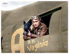 "B-17 ""Memphis Belle"" Gunner and Mascot"