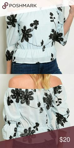 """*FLASH SALE *  NWT Off shoulder blouse PRETTY! NWT. So pretty!! Light mint color, Off the shoulder 3/4 sleeve top with black sewn floral pattern.  ** sorry, no trades - please do not post offers in comments ** Sizing runs true * junior size. Approx measurements: Small: L-16"""", B-36"""" gently stretched, W-17"""" gently stretched Med: L-16"""", B-38"""" gently stretched, W-18"""" gently stretched Lg: L-16.5"""", B-40"""" gently stretched, W-19"""" gently stretched Tops Blouses"""