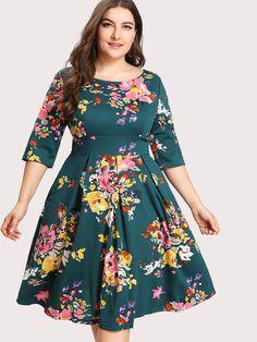 Shop V Back Florals Circle Dress online. SheIn offers V Back Florals Circle Dress & more to fit your fashionable needs. Vestidos Plus Size, Plus Size Dresses, Plus Size Outfits, Nice Dresses, Dress Outfits, Fashion Dresses, Dress Up, Dress Clothes, Circle Dress