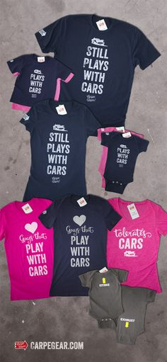 Plays with cars mom, dad, and baby matching shirts Baby Shirts, Family Shirts, Shirts For Girls, Onesies, Silhouette Cameo Projects, Vinyl Projects, Heat Transfer Vinyl, My Guy, Baby Fever